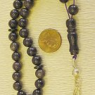ISLAMIC PRAYER BEADS: TESBIH KOMBOLOI BLUE GOLDSTONE & STERLING  Tesbihci