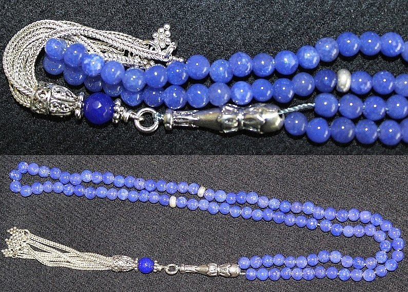 ISLAMIC PRAYER BEADS GENUINE CLEAR SAPPHIRE & STERLING - COLLECTOR'S