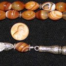 LUXURY PRAYER BEADS TASBIH AA BOTSWANA AGATE & STERLING TOP QUALITY- COLLECTOR'S