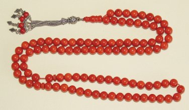 ISLAMIC PRAYER BEADS TESBIH CHAPELET 99 DARK SALMON ORANGE CORAL & STERLING