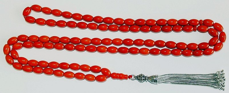 ISLAMIC PRAYER BEADS 99 DARK ORANGE CORAL   - PERFECT CUT- COLLECTOR'S