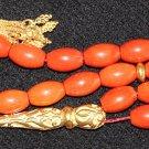 LUXURY PRAYER BEADS TESBIH CHAPELET MEDITERRANEAN SALMON ORANGE CORAL & VERMEIL