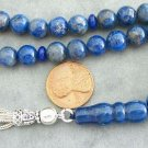 PRAYER WORRY BEADS KOMBOLOI TESBIH  ROUND DENIM LAPIS & STERLING