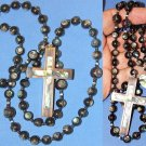 CATHOLIC ROSARY EBONY AND PAUA SHELL - HAND MADE BEADS FROM PHILIPPINES - UNIQUE