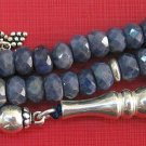 66 BEADS TESBIH WORRY BEADS GENUINE FACETED SAPPHIRE & STERLING - COLLECTOR'S