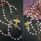 CATHOLIC ROSARY GENUINE PINK AND MAUVE PEARLS, GOLD PLATE AND ENAMEL, ST. RITA