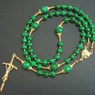 CATHOLIC ROSARY PRAYER BEADS GEBETSKETTE MALACHITE & VERMEIL