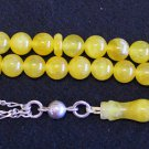 PRAYER WORRY BEADS TESBIH KOMBOLOI YELLOW JADE AND STERLING SILVER