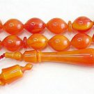 PRAYER BEADS MARBLED ORANGE TURKISH CATALIN AMBER SUFI  CARVING COLLECTOR'S ITEM