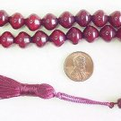 PRAYER BEADS KOMBOLOI  SHALGAMY CUT FATURAN RESIN W BURGUNDY AMBER COLOR