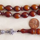 PRAYER BEADS TESBIH VINTAGE CATALIN DARK AMBER  STERLING TASSEL - COLLECTOR'S