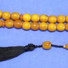PRAYER BEADS KAHRAMAN AMBER COLOR FATURAN BARREL CUT VINTAGE TESBIH KOMBOLOI