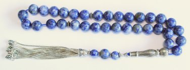 LUXURY PRAYER BEADS TESBIH AAA GRADE SODALITE & STERLING TOP QUALITY COLLECTOR'S