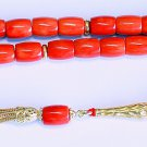 LUXURY PRAYER BEADS TESBIH CHAPELET BARREL CUT SALMON ORANGE CORAL & VERMEIL