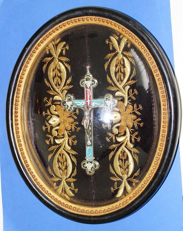 Micro Mosaic Cross In Original Frame With Gold Thread Hand Embroidery �RARE-