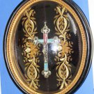 Micro Mosaic Cross In Original Frame With Gold Thread Hand Embroidery –RARE-