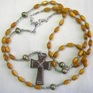 3 WAY WEARABLE CATHOLIC ROSARY PENDANT & NECKLACE AMBER, PEARL, MOP & STERLING