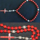 ANGLICAN ROSARY PRAYER BEADS SPONGE RED CORAL AND STERLING SILVER