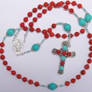 CATHOLIC ROSARY PRAYER BEADS CHAPELET GEBETSKETTE CORAL TURQUOISE STERLING