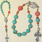 CATHOLIC TRAVEL ROSARY CHAPLET TURQUOISE CORAL & STERLING