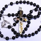 WEARABLE CATHOLIC ROSARY CHAPELET INLAID JET STERLING & ETHIOPIAN CROSS
