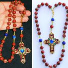 2WAY WEARABLE BEADED CHOTKI KOMBOSKINI JASPER LAPIS & ENAMELED VINTAGE CROSS