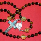 OUR LADY OF FATIMA CATHOLIC ROSARY PRAYER BEADS TIGER EYE STERLING & AMBER