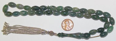 LUXURY PRAYER BEADS TESBIH OVAL MOSS AGATE STERLING AA QUALITY RARE COLLECTOR'S