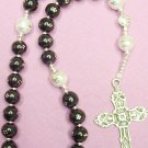 ANGLICAN  EPISCOPAL ROSARY PRAYER BEADS STUDDED JET & STERLING