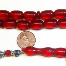 PRAYER BEADS KOMBOLOI CHERRY RED FATURAN LONG BARREL CUT VINTAGE