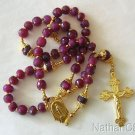 Catholic Rosary Rosenkranz genuine faceted Ruby and Vermeil