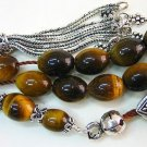 Greek Komboloi worry beads oval Tiger Eye & sterling Silver