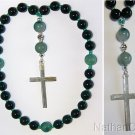 Anglican Episcopal Rosary Prayer Beads Grenn Jade, Tree Agate & Sterling Silver