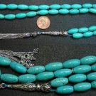 PRAYER BEADS TESBIH LONG OVAL TURQUOISE & STERLING SILVER