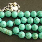 PRAYER BEADS TASBIH SUBHA MATRIX TURQUOISE & STERLING SILVER