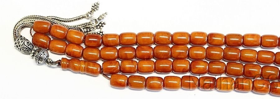 Islamic Prayer beads Tesbih antique Kahraman genuine Butterscotch Amber - XXXR