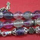 PRAYER BEADS TESBIH GEBETSKETTE OVAL FLUORITE & STERLING SILVER