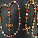 Anglican Episcopal Rosary Rutile Quartz, Carnelian & Serpentine Hand made cross