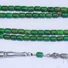 Islamic Prayer Beads 99 Barrel Green Turquoise & Sterling - Rare Cut Collector's