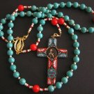 CATHOLIC ROSARY TURQUOISE CORAL VERMEIL PIUS XI MICRO MOSAIC CROSS