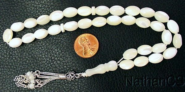 PRAYER BEADS SUBHA TESBIH GEBETSKETTE MOTHER OF PEARL & STERLING SILVER