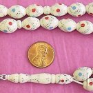 PRAYER BEADS TESBIH STUDDED & TURQUOISE CORAL INLAID BONE & STERLING SILVER