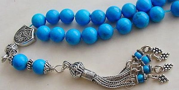 GREEK KOMBOLOI STERLING SILVER AND TURQUOISE WORRY BEADS