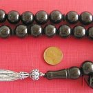 PRAYER BEADS TESBIH GEBETSKETTE TURKISH LARGE ROUND OLTU (JET) STERLING SILVER