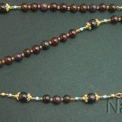 CATHOLIC ROSARY GARNET VERMEIL & MICRO MOSAIC CROSS 2 - UNIQUE ITEM