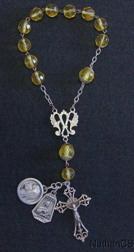Early XXth Cent Crystal 1 Decade Travel Rosary with Rare Sterling Silver Medals