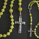 CATHOLIC ROSARY PRAYER BEADS LEMON JADE & STERLING SILVER
