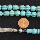 PRAYER BEADS TESBIH GEBETSKETTE CARVED DRAGON TURQUOISE & STERLING SILVER