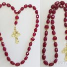 ORTHODOX BEADED CHOTKI KOMBOSKINI GENUINE RUBY & VERMEIL UNIQUE, IMPRESSIVE