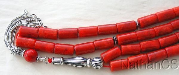 Prayer Beads Komboloi Gebetskette Red Sea Sponge Coral and Sterling Silver